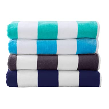 Great Bay Home 4-Pack 100% Cotton Plush Cabana Stripe Velour Beach Towel (30x60) Brand. (Multi-Color 4)