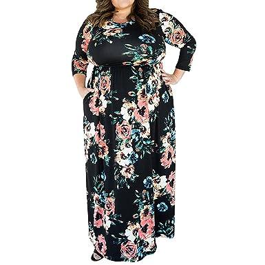 YUMDO Women\'s 3/4 Sleeve Floral Printed Maxi Dress Plus Size Dresses ...