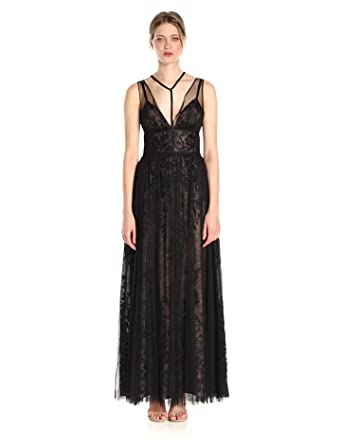 371f9a7ecc8 Vera Wang Women s Sleeveless Vneck Lace Gown with Overlay and Tie Neck  Detail