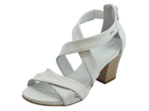 Sandali per donna NeroGiardini in pelle colore bianco lampo posteriore