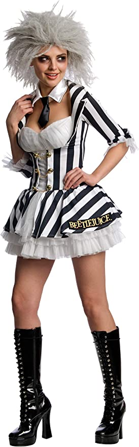 Women/'s Graveyard Ghost Costume Beetle Juice Halloween Fancy Dress