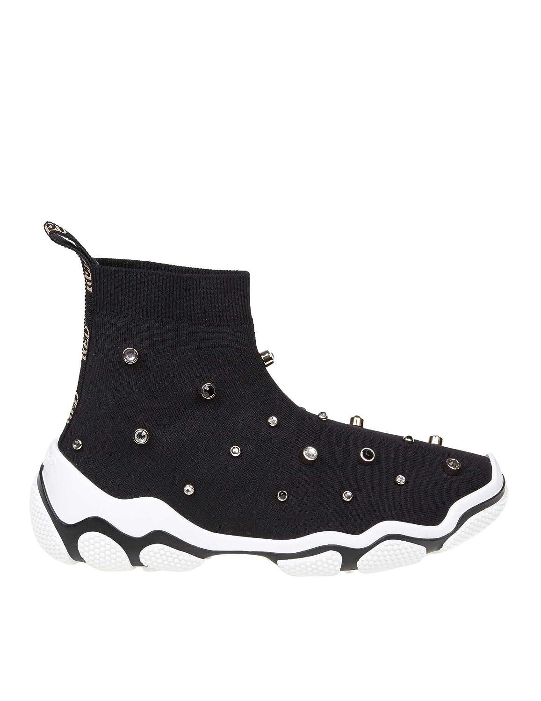- Red Valentino Women's RQ2S0B92HFD0NO Black Fabric Hi Top Sneakers