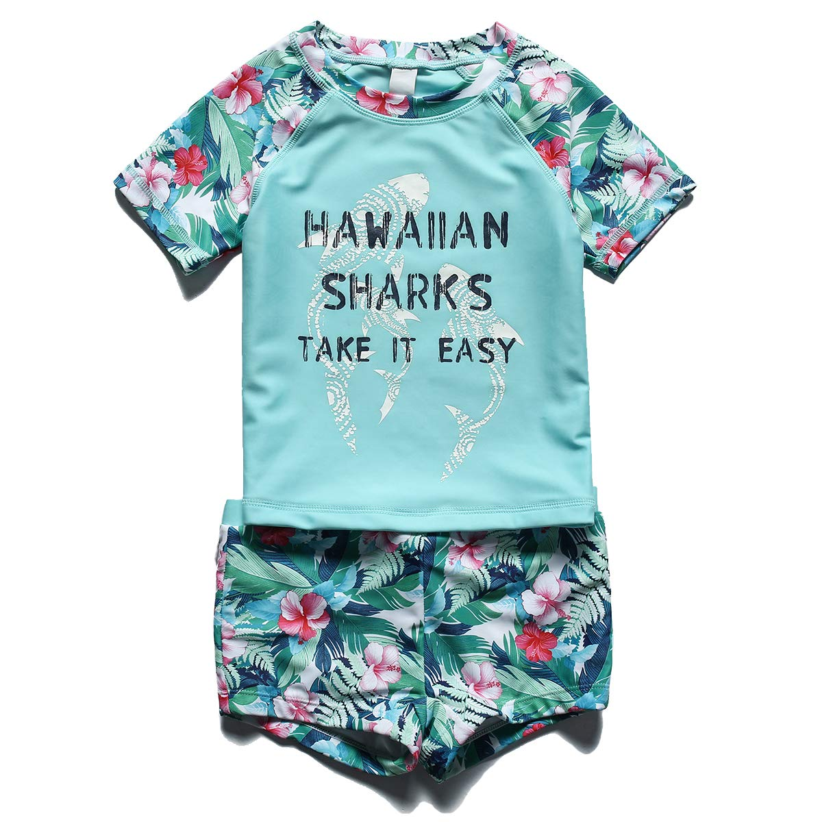 PHIBEE Girls Short Sleeve Rash Guard Set UPF 50 Sun Protection Two-Piece Swimwear Kangya