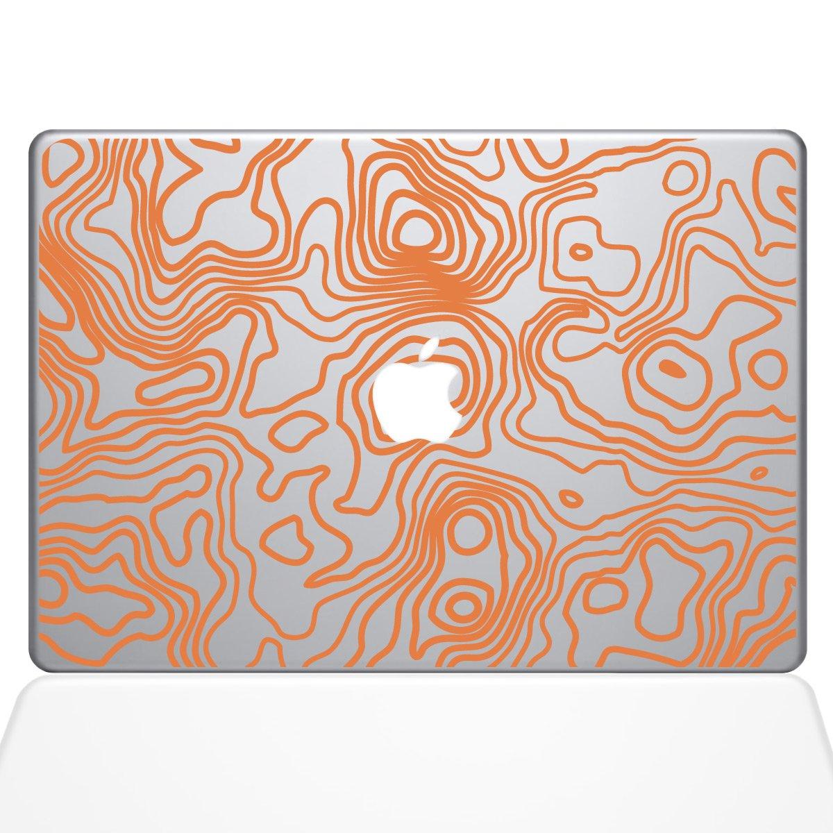 The Decal Guru Topographic Map MacBook Decal Vinyl Sticker - 15'' MacBook Pro (2015 & Older) - Orange (1287-MAC-15P-P)