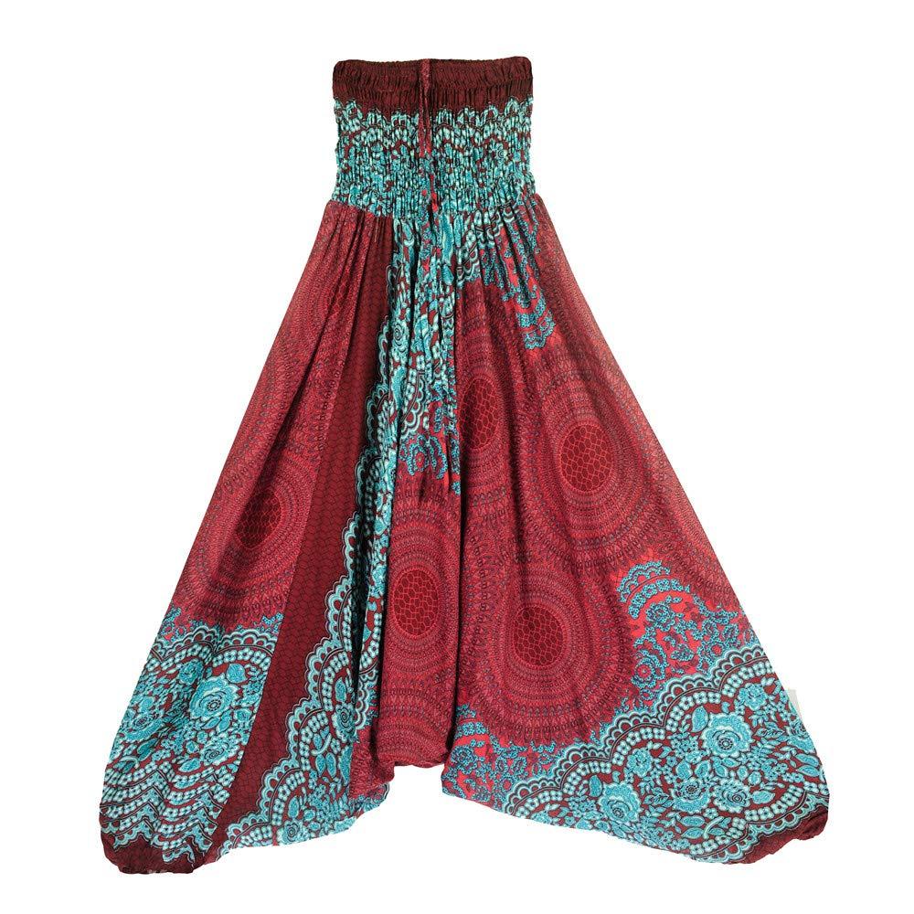 Harem Pants Women's Hippie Bohemian Yoga Pants One Size Aladdin Harem Hippie Pants Jumpsuit Smocked Waist 2 in 1 (Free, Wine)