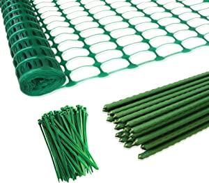 MaWGcowerd Plastic Safety Fence+25 Steel Plant Stakes,Patio Snow Fence 40 Inches X 100 Feet Green Plastic Garden Netting and 25 4-Foot Stakes