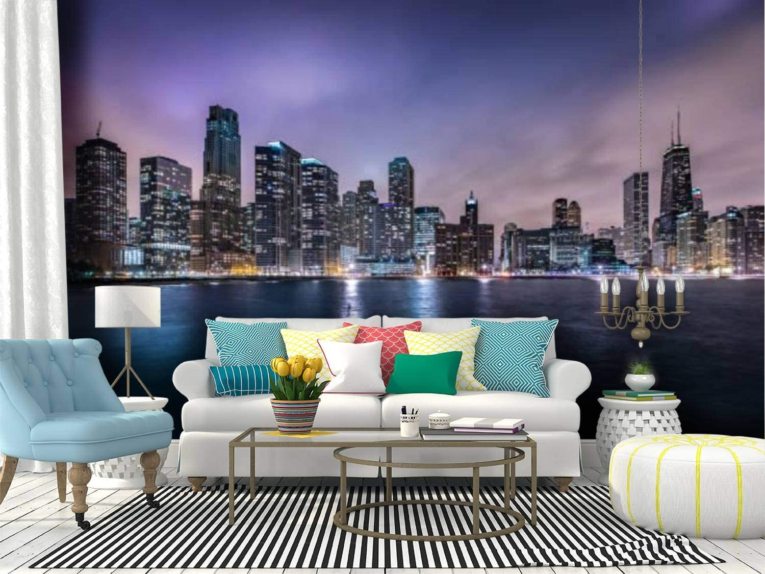 chicago skyline and lake michigan at night blue purple skys and Canvas Print Wallpaper Wall Mural Self Adhesive Peel & Stick Wallpaper Home Craft Wall Decal Wall Poster Sticker for Living Room