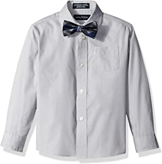 Nautica Boys' Long Sleeve Solid Shirt Bow Tie