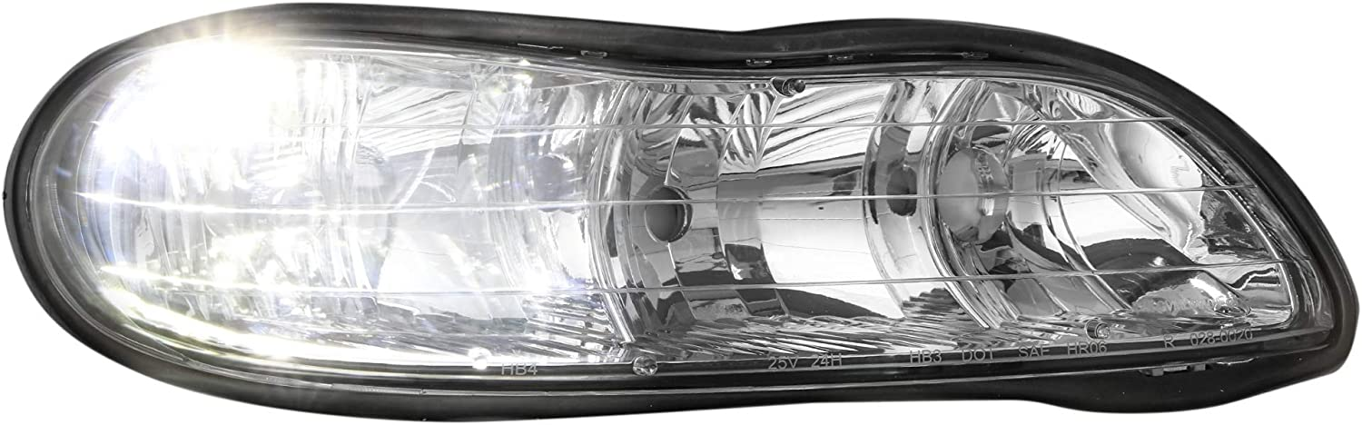 Set of 2 MOSTPLUS Headlight Assembly Compatible for 1997 1998 1999 2000 2001 2002 2003 Chevy Malibu//2004 2005 Chevy Classic//1997 98 99 Oldsmobile Cutlass-Chrome Housing Front Lights