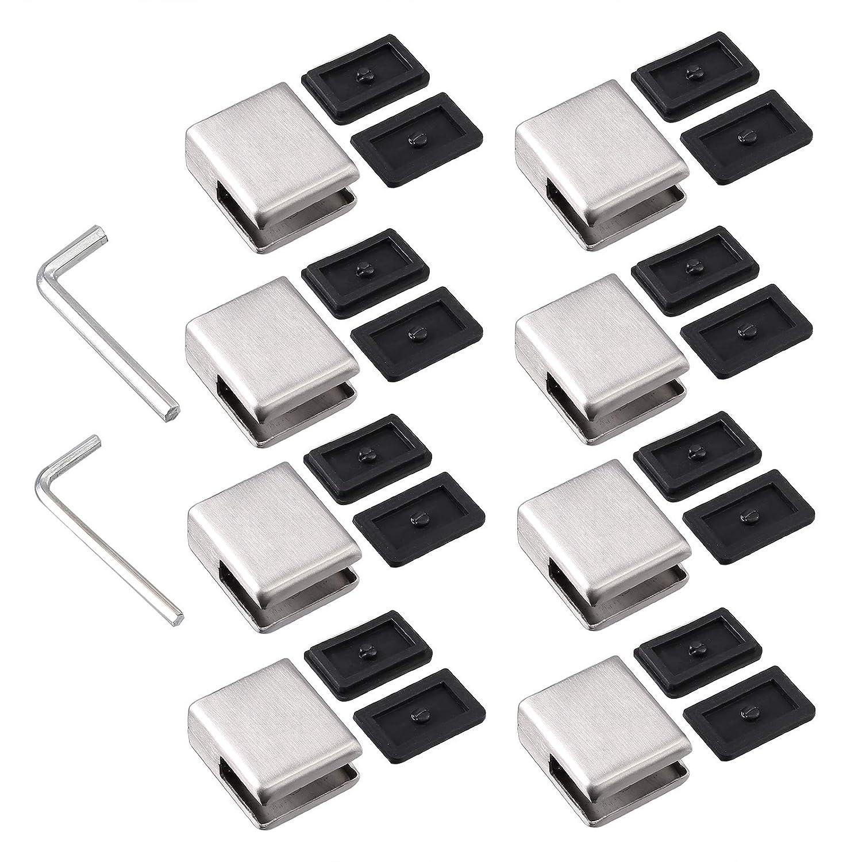 Proster Pinces /à Verre 8 PCS 8-10mm en Acier Inoxydable 304 Pinces /à Verre Support en Verre R/églable /à Dos Plat pour Balustrade dEscalier Main courante