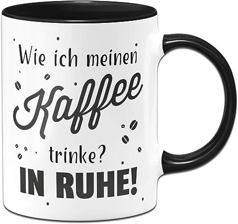 """Tasse mit Spruch /""""Kaffee erreicht Stellen,./"""" Schwarz Kaffeetasse lustig Geschenk"""