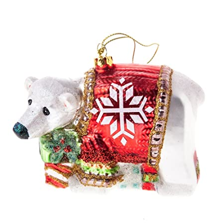 glass polar bear christmas tree decoration 9cm