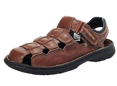Insun Herren Sandalen Nein Peep-Toe Schuhe Klettverschluss Pantoletten