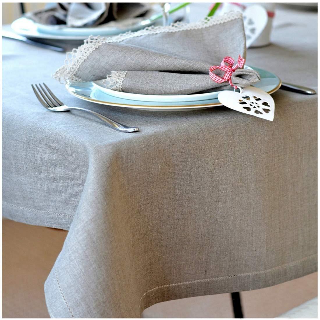 Linen & Cotton Luxus Tischdecke mit Hohlsaum Florence - 100% Leinen (143 x 300 cm), Beige Natur