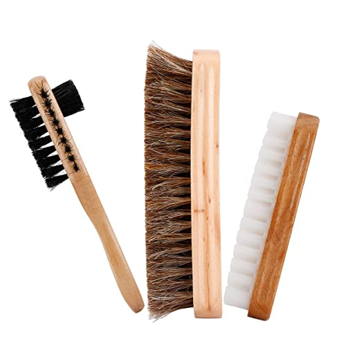 Codream 3in1 Shoe Shine Brush Set For Leather Suede Bag Clothes Shoe