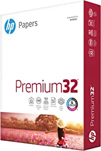 HP Paper Printer Paper 8.5x11 Premium 32 lb 1 Ream 500 Sheets 100 Bright Made in USA FSC Certified Copy Paper Compatible 113100R, White