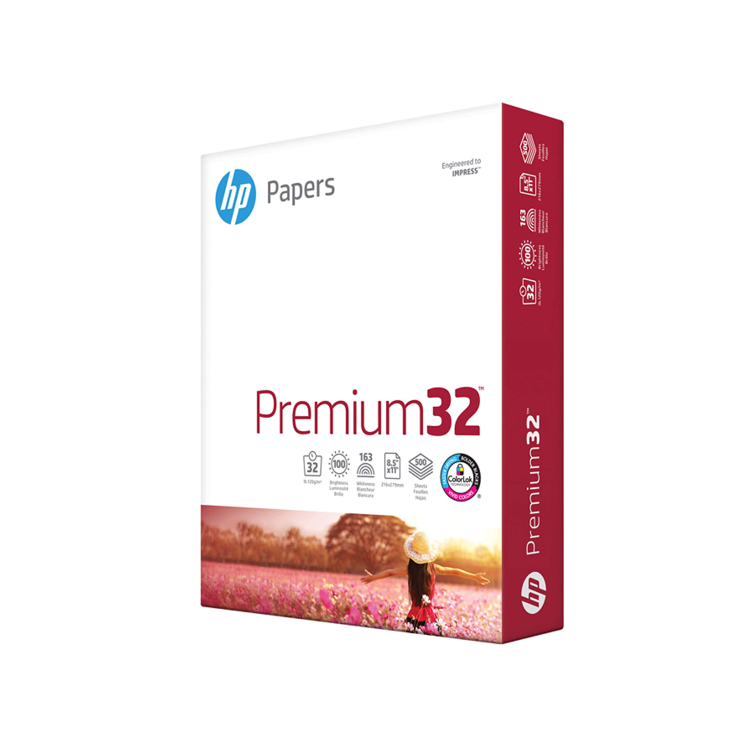 HP Papers Printer Paper 8.5x11 Premium 32 Lb 1 Ream 500 Sheets 100 Bright Made in USA FSC Certified Copy Paper Compatible 113100R, White