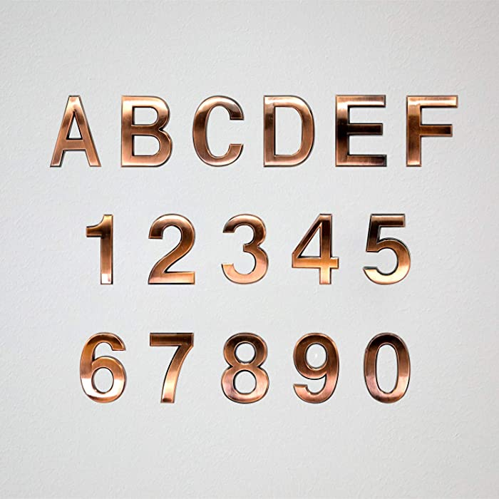 "Koopro 16 Pieces 2.75"" Self Adhesive Numbers, 0 to 9 Plus A to F, Door Numbers Stickers for Apartment Home Office Room Hotel Waterproof Mailbox Residence Street Address Signs Labels Plaques (Bronze)"