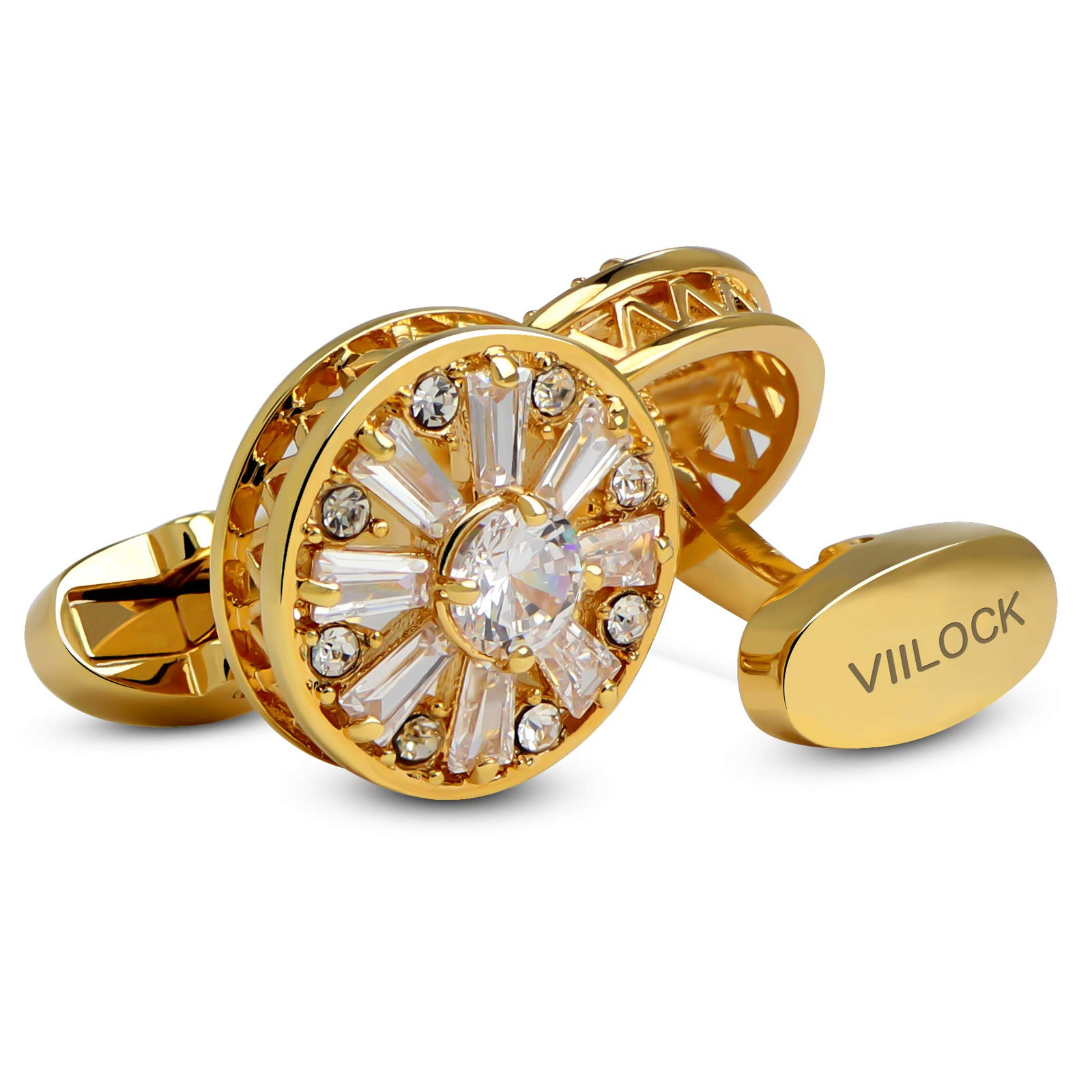 VIILOCK 18K Gold Painting with Super Shiny Crystal Cufflinks with Gift Bag Wedding Cuff-Links