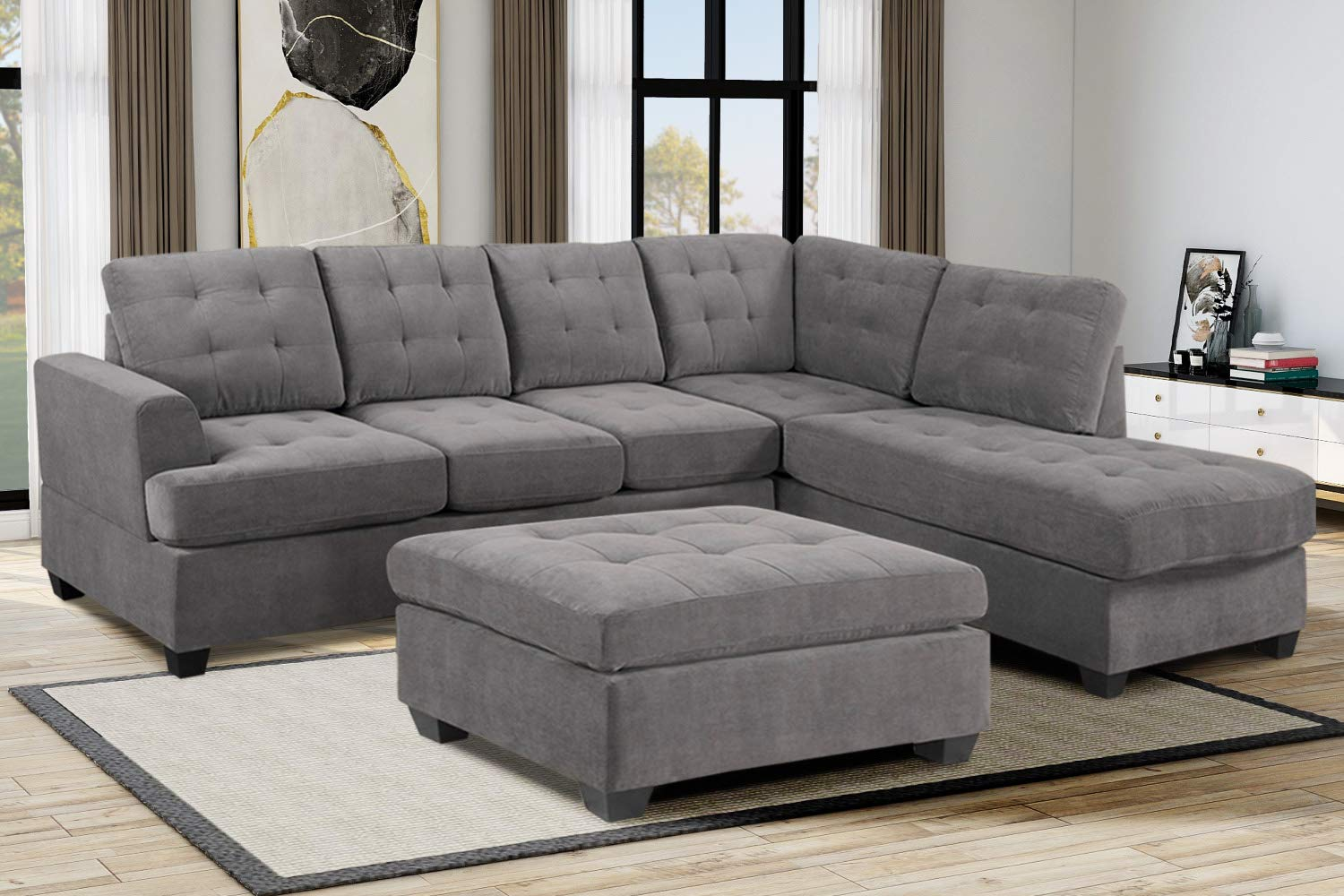 Amazon.com: 3 Piece Sectional Sofa Set,Corner Sofa ...