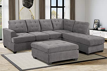 Amazon.com: 3 Piece Sectional Sofa Set,Corner Sofa Combination with ...