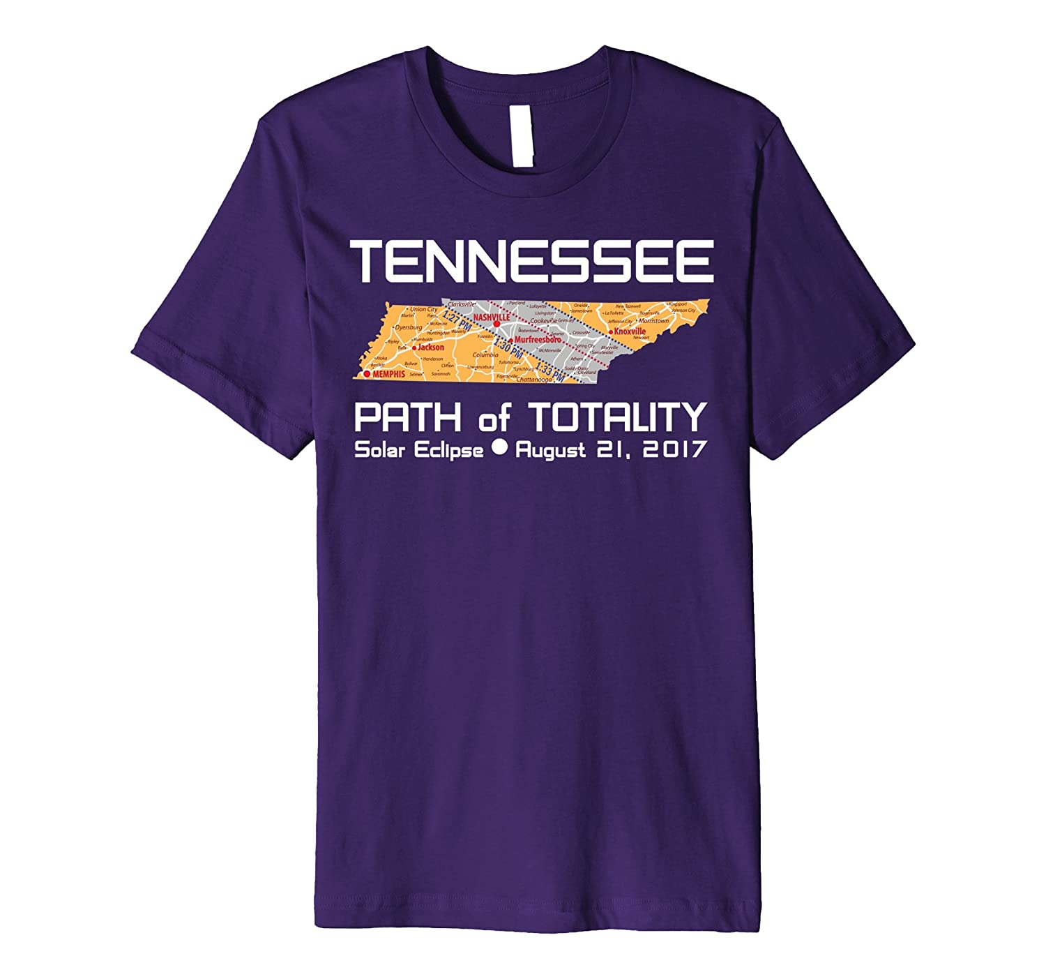 Solar Eclipse T (PREMIUM): TENNESSEE MAP PATH of TOTALITY-w-BN