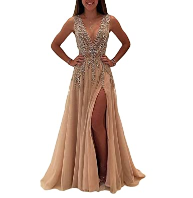 FeliciaDress Evening Dresses for Women Formal Slit 2017 Luxury Prom Dresses Long Champagne 019