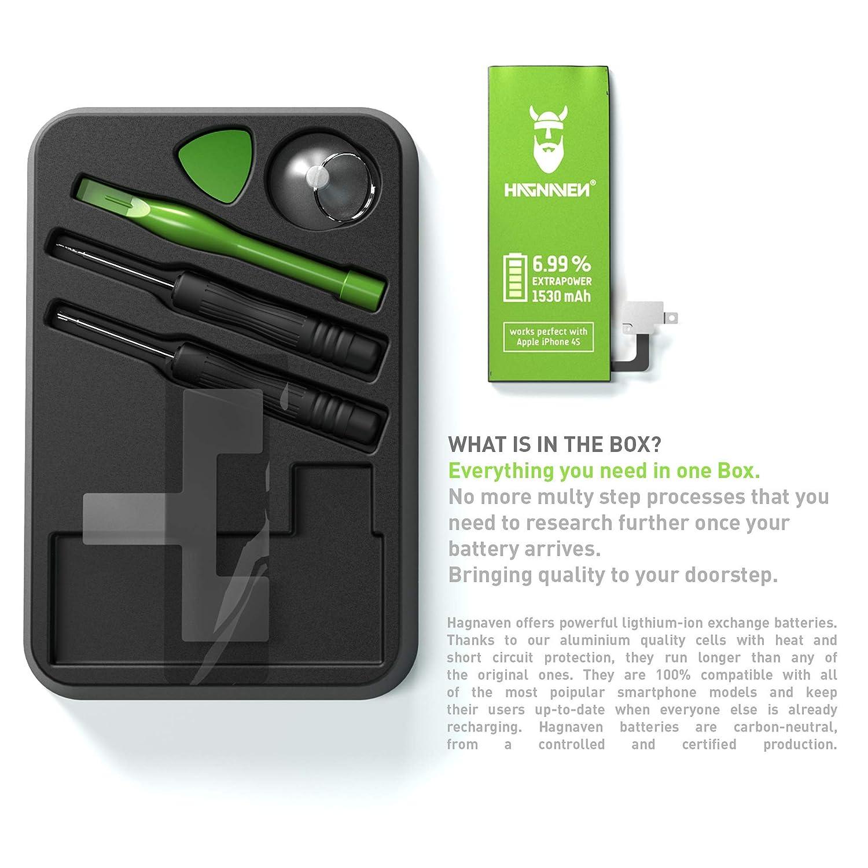 Batería Hagnaven® Li-polímero paraiPhone 4s | Batería Premium con Herramientas | Potente Batería de sustitución | 1530 mAh | Celdas MÁXIMA AUTONOMÍA