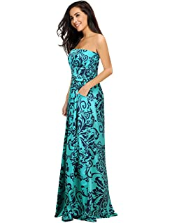 17bf5fc78f Leadingstar Women Strapless Maxi Vintage Floral Print Graceful Party Long  Dress