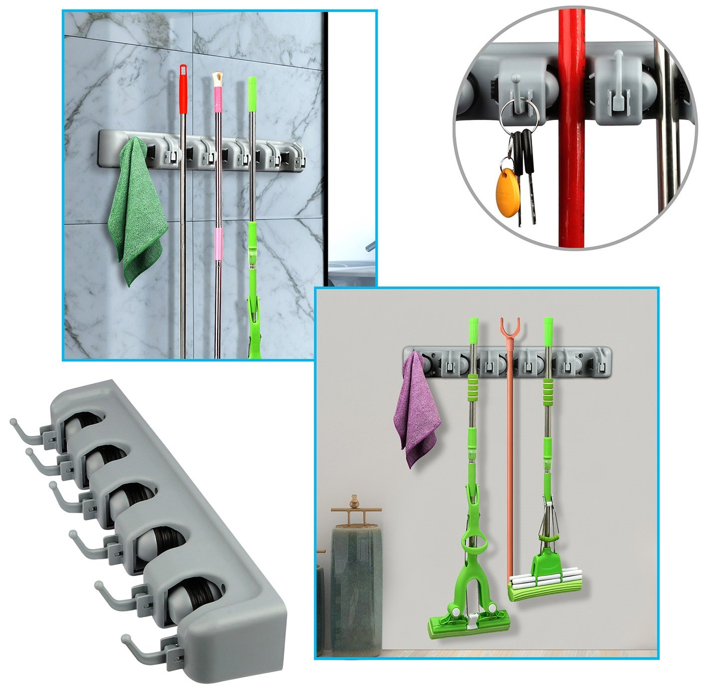 GPCT Wall Mounted Mop Broom Holder Organizer. Non-Slip, 5 Positions & 6 Hooks, Storage Organization Hangers Wall Closet Rakes Garage Garden Tool Shed Yard Bathroom Kitchen Pantry Office Organizer