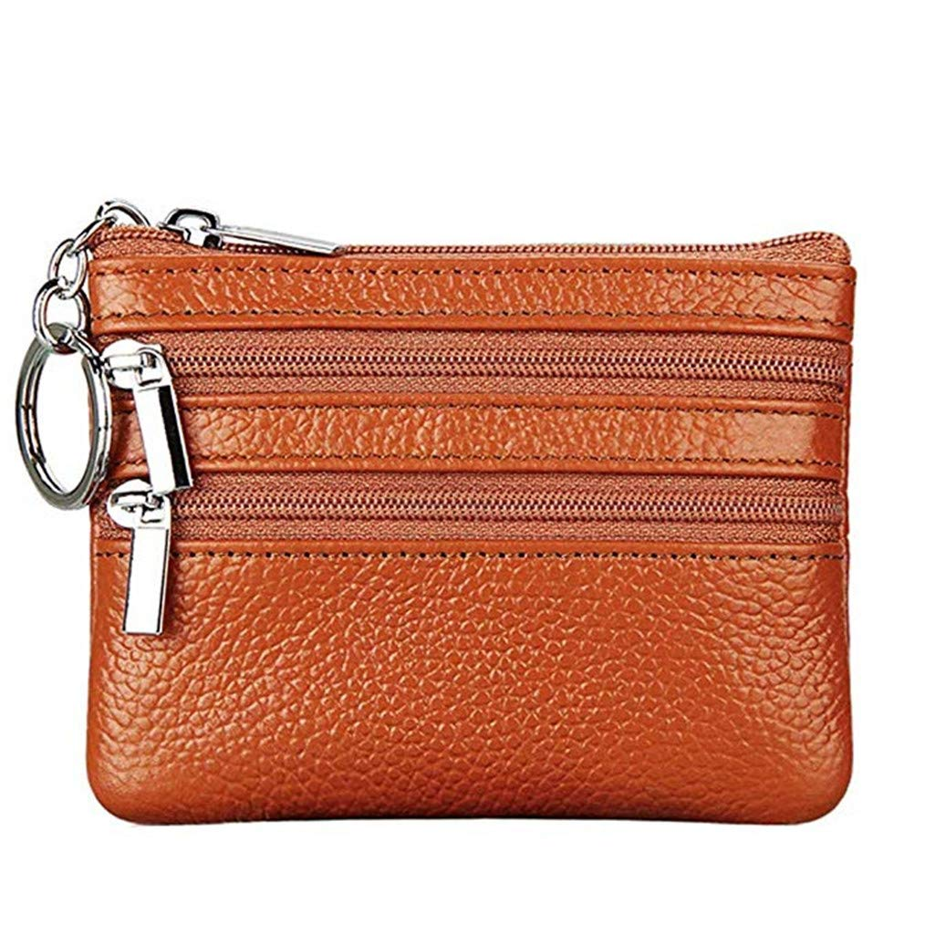 Fuerton Womens Genuine Leather Coin Purse Mini Pouch Change Wallet with Key Ring Red