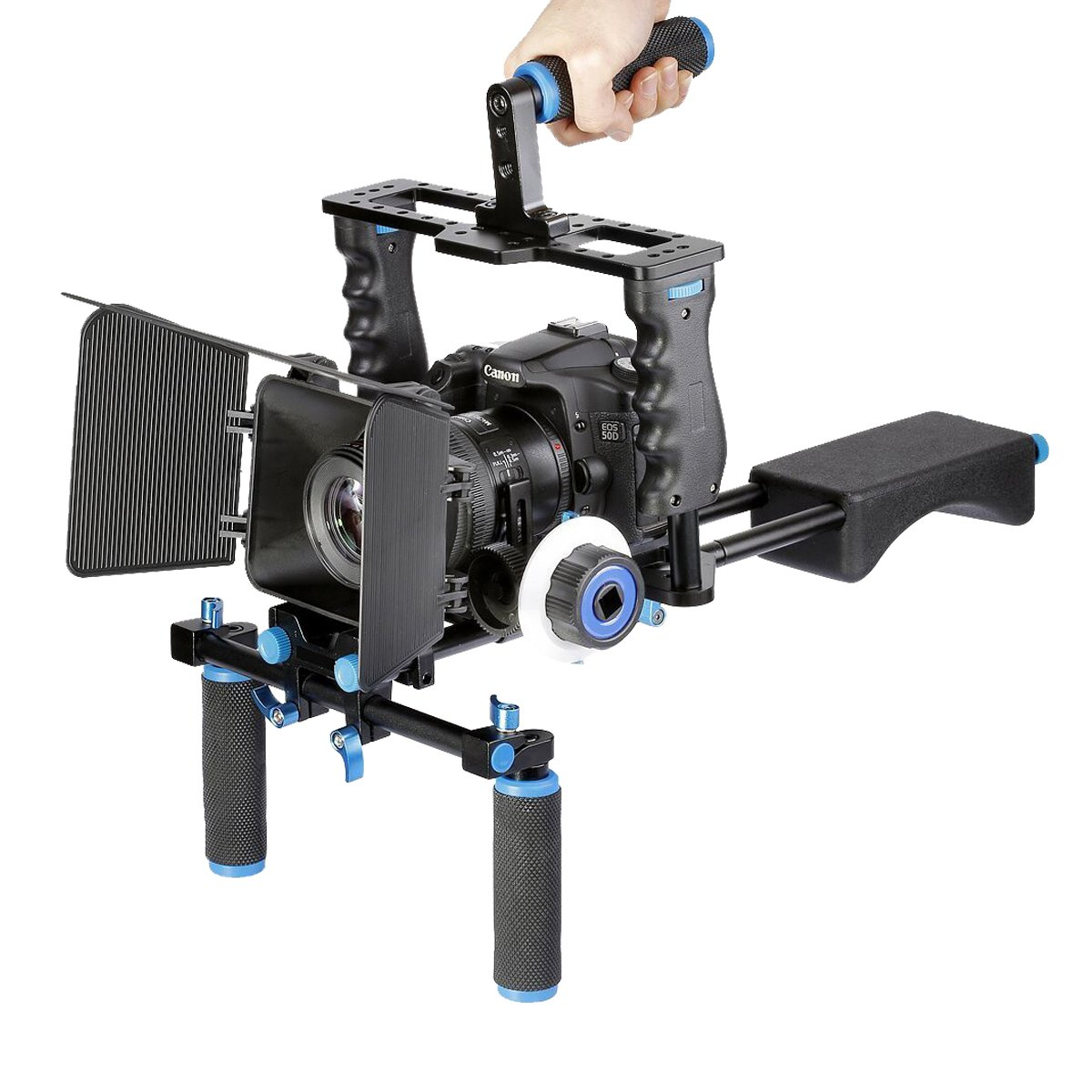 YELANGU Aluminum Film Movie Kit System Rig for Canon/Nikon/Pentax/Sony and other DSLR Cameras, includes:(1)Video Cage+(1)Top Handle Grip+(2)15mm Rod+(1)Matte Box+(1)Follow Focus+(1)Shoulder Rig