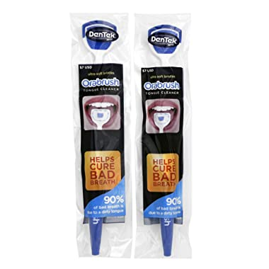 Orabrush Tongue Cleaner   Helps Cure Bad Breath   2 Tongue Scrapers - Colors May Vary