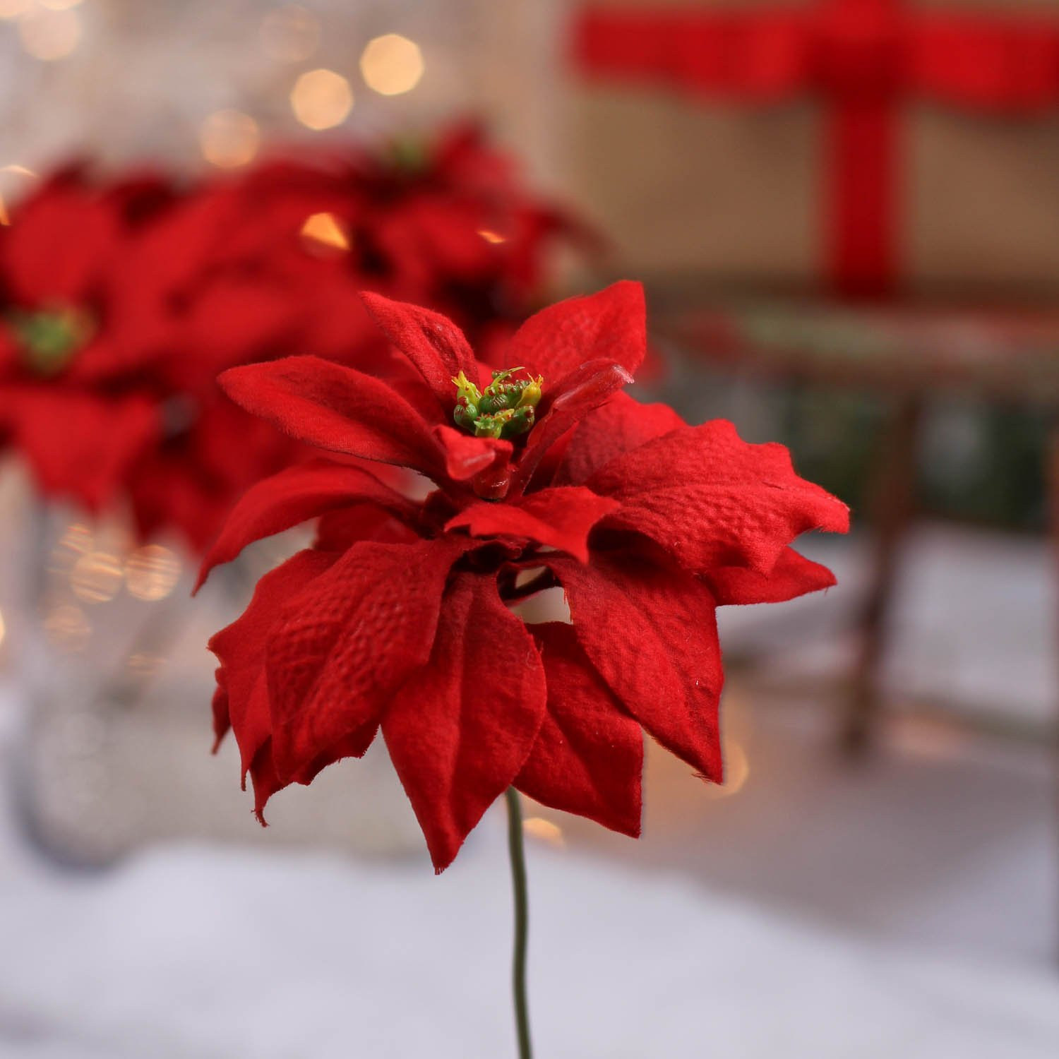 Factory Direct Craft Package of 24 Soft Touch Red Poinsettia Artificial Accent Picks for Christmas Holiday Flower Arrangements, Wreaths and Holiday Decorations
