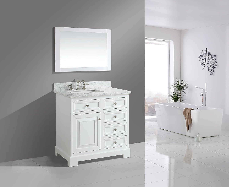 UrbanFurnishing.net – Rochelle 36-Inch 36 Bathroom Sink Vanity Set with White Italian Carrara Marble Top – White