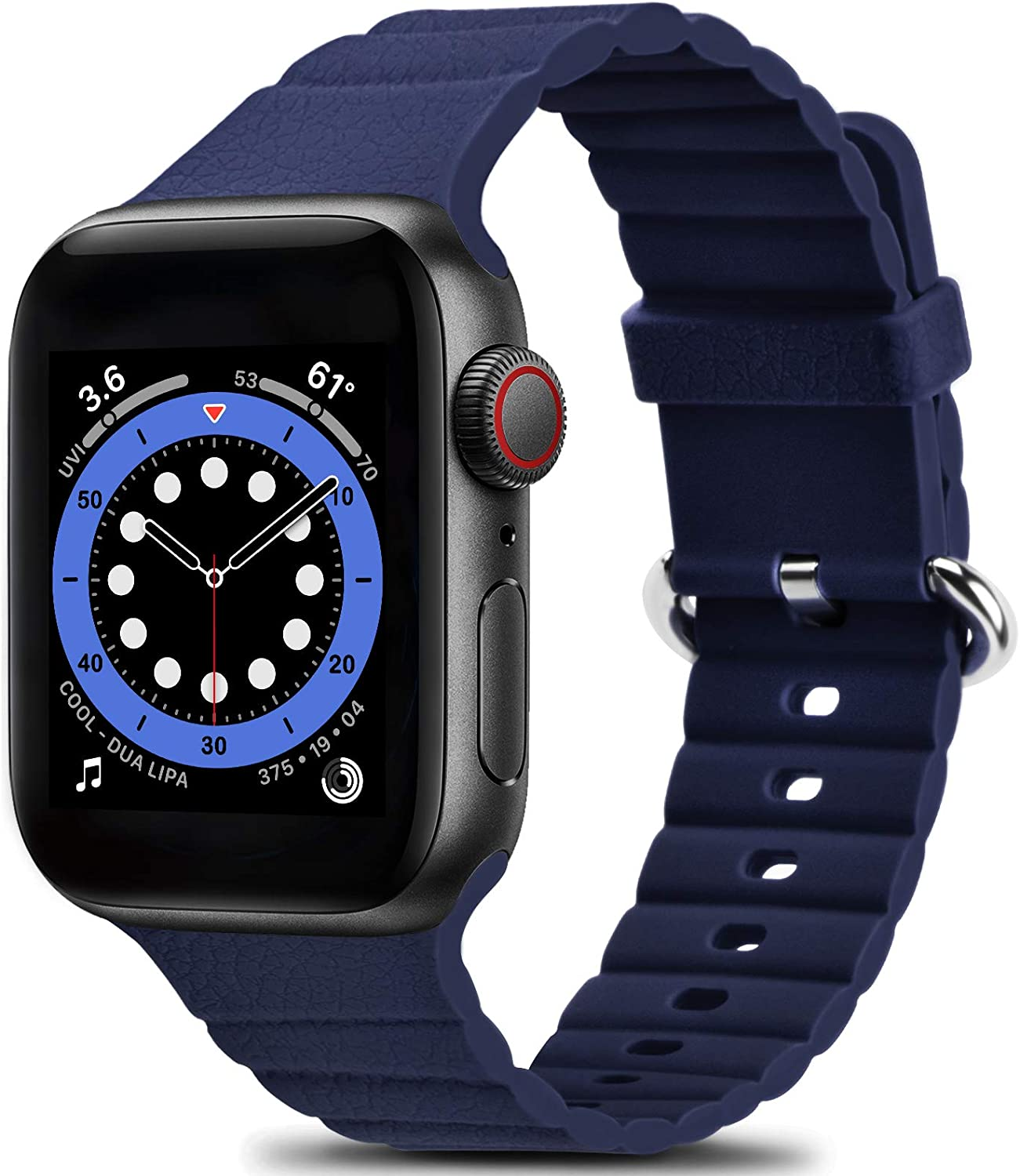 Sport Band Compatible with Apple Watch Bands 44mm 42mm 40mm 38mm for Men Women - Enhanced Adjustable Wavy Design Silicone Replacement Wristbands Straps for iWatch Series SE 6 5 4 3 2 1