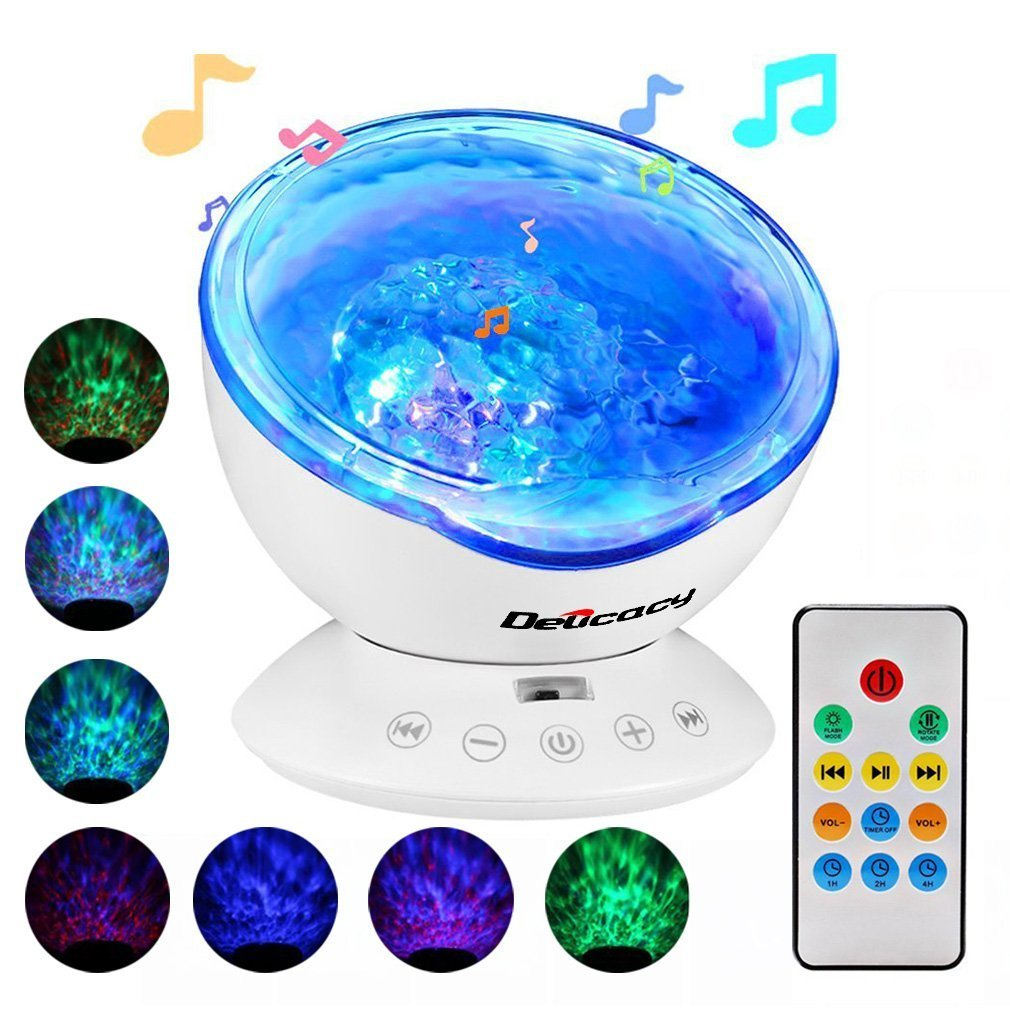 [Baby Night Light] Ocean Wave Projector,Delicacy 12 LED Remote Control Undersea Projector Lamp,7 Color Changing Music Player Night Light Projector for Kids Adults Bedroom Living Room Decoration [Energy Class A++] Ltd DE-E015