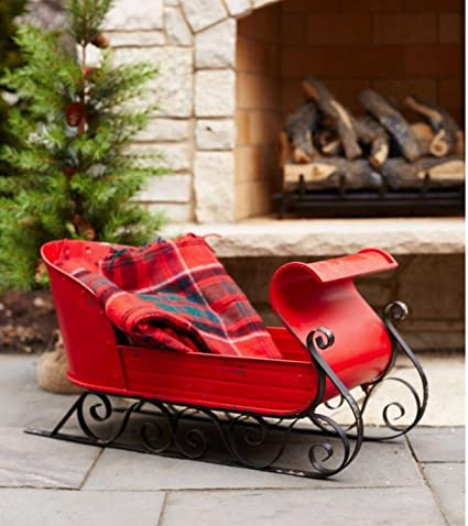 30 metal red and black decorative christmas sleigh