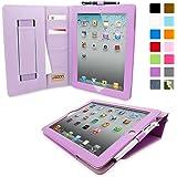 Étui iPad Air 2 de style 'Executive', Snugg™ - Housse / Smart Case en Cuir Violet avec Emplacements pour Cartes, Poche de Rangement et Garantie à Vie Pour Apple iPad Air 2
