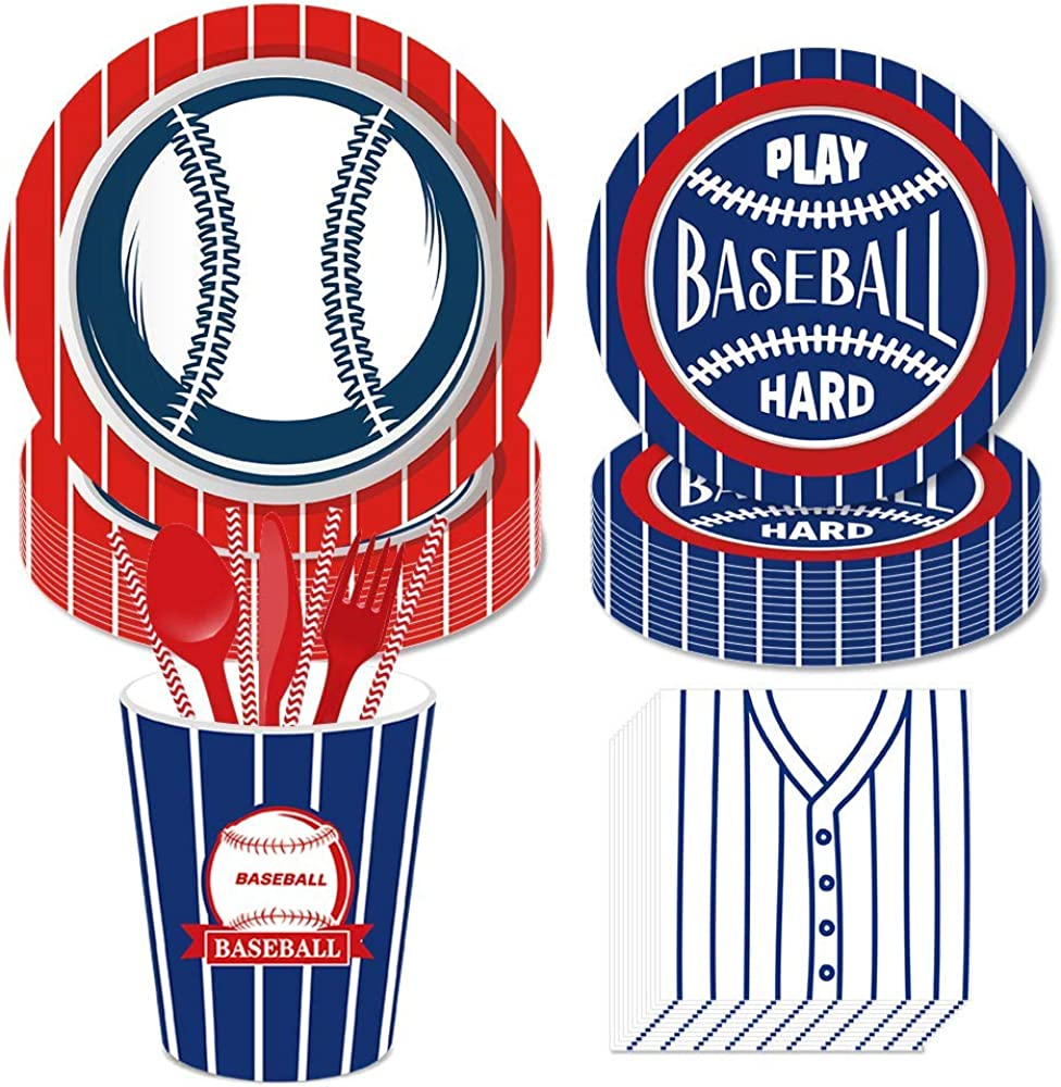 Baseball Party Supplies,Baseball Birthday Decorations Set Includes Disposable Dinner Plates,Dessert Plates,Cups,Napkins, Straw,Serves 16 Guests, 113PCS…