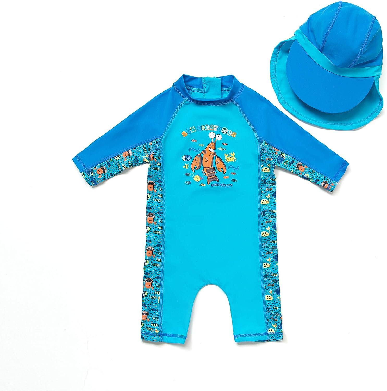 3-6 months, Colorful fish Kids UPF 50+ Sun Protection S//S One Piece Zip Sun Suit With Sun Hat TM Bonverano