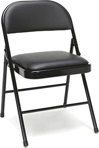 OFM Essentials Collection Multipurpose Padded Metal Folding Chair, Pack of 4, in Black