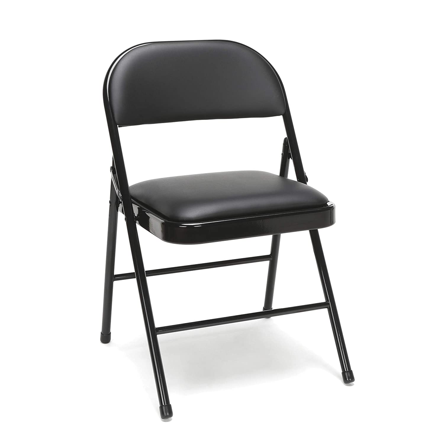 OFM Essentials Collection Multipurpose Padded Metal Folding Chair, Pack of 4, in Black ESS-8210-BLK