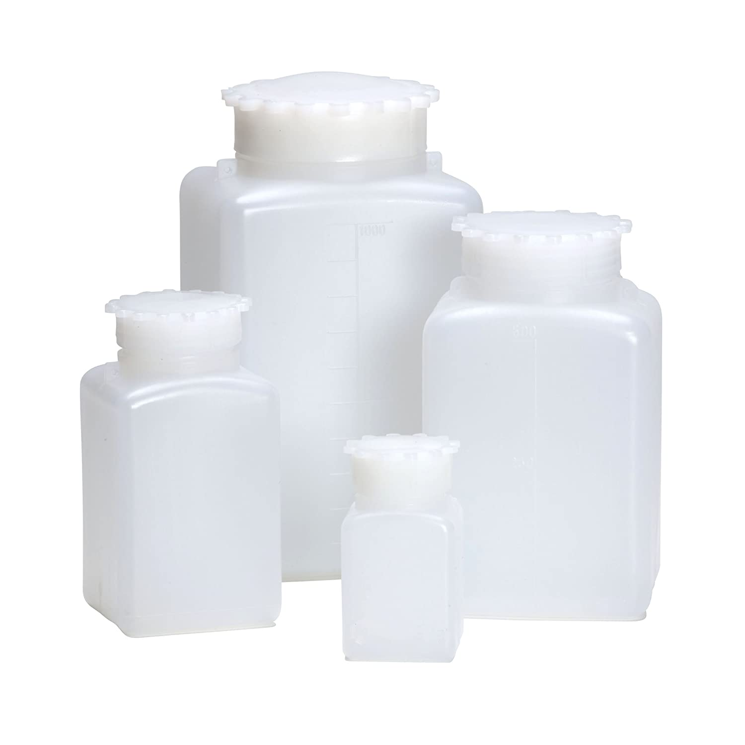 Nice AZLON BGE218P Square Bottle, Plastic, Wide Mouth, HDPE, 50 ml (Pack of 10) free shipping
