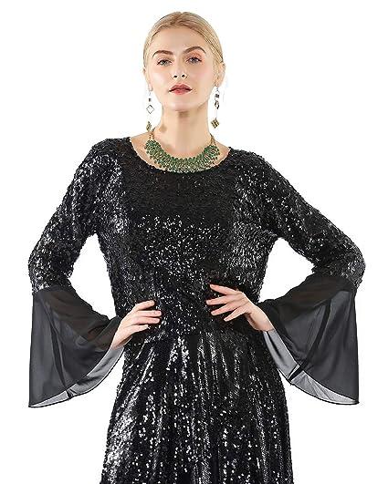 Buy Metme Women's Sequin Long Bell Sleeve Cardigan Mesh Tops