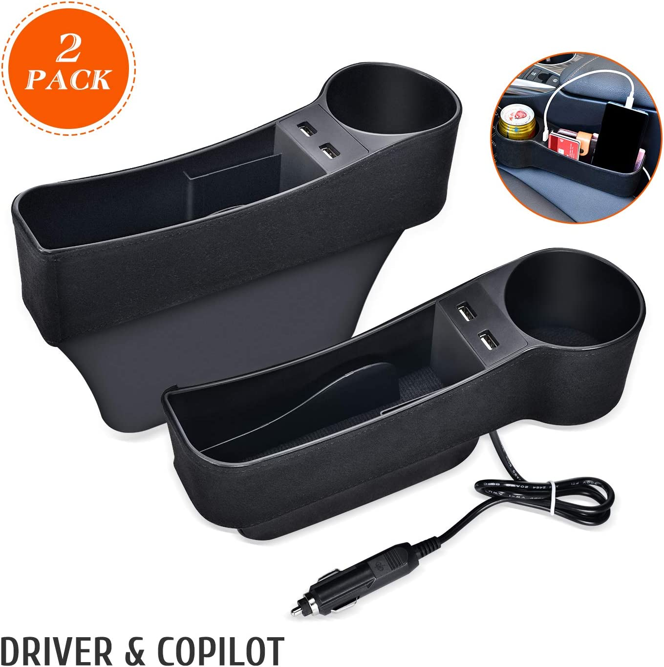 2Pack,Black STEPIN Car Seat Gap Filler Multifunctional Car Seat Organizer with Cup Holder,Between Seat Car Organizer Not Fit Central Console Lower Than The Seat