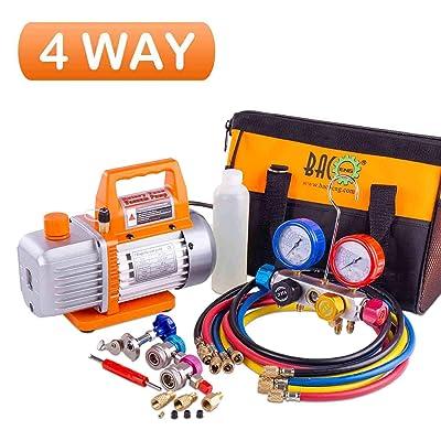 BACOENG Professional Vacuum Pump & Manifold Gauge Set - HVAC A/C Refrigeration Kit - Diagnostic R12 R22 R134a R410A - w/Case: Home Improvement