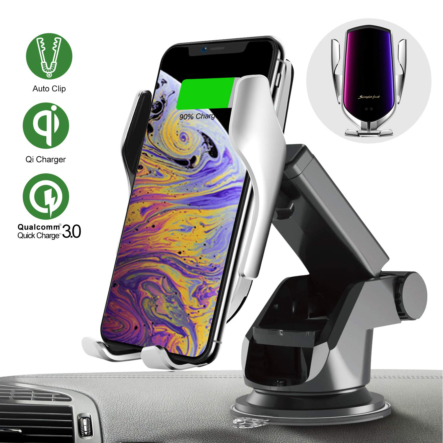 Qi Wireless Car Charger Mount, 10W 3.0 Car Charger Air Vent Phone Holder Fast Charging Automatic Clamping Smart Sensor Windshield Dashboard 360°Rotation Compatible with i Phone Xs MAX/XS/XR Samsung S9 by YunFan