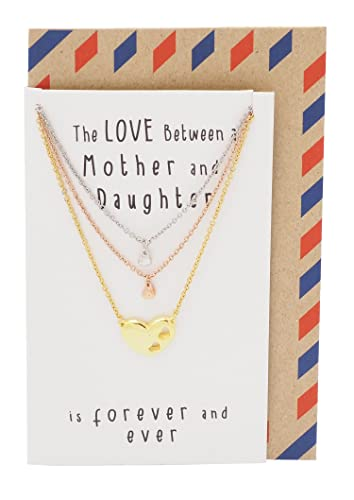 da4d3a0f72fad Amazon.com: Quan Jewelry Mother Daughter Necklace, Handmade 3 ...