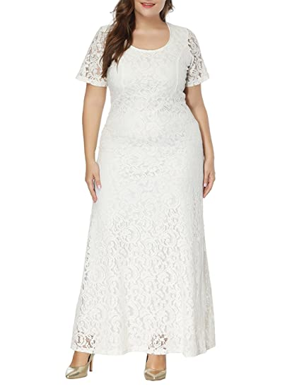 Simplee Plus Size Women\'S Floral Lace Dress Short Sleeve Formal Maxi Dress